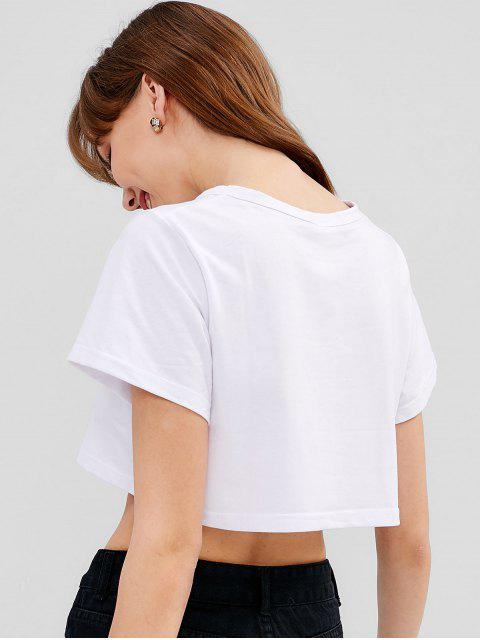 new Letter Print Graphic Cropped Tee - WHITE M Mobile
