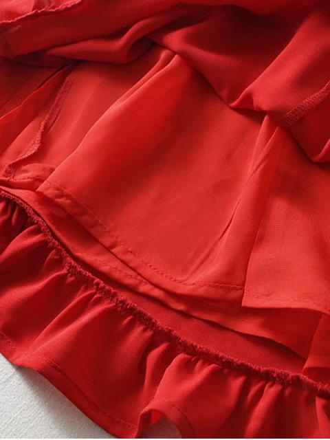 women Tie Strap Ruffled Mini Dress - RED S Mobile