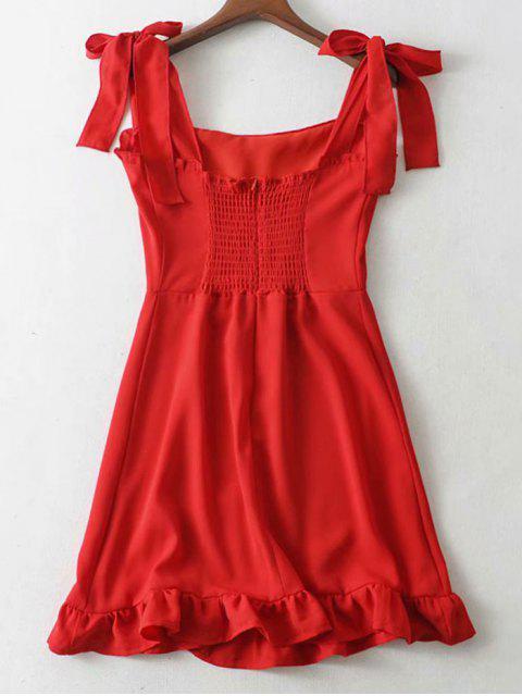 Mini Robe à Bretelle Nouée à Volants - Rouge M Mobile