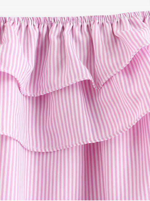 Robe Ceinturée Rayée Nouée à Volants - Rose Vif M Mobile