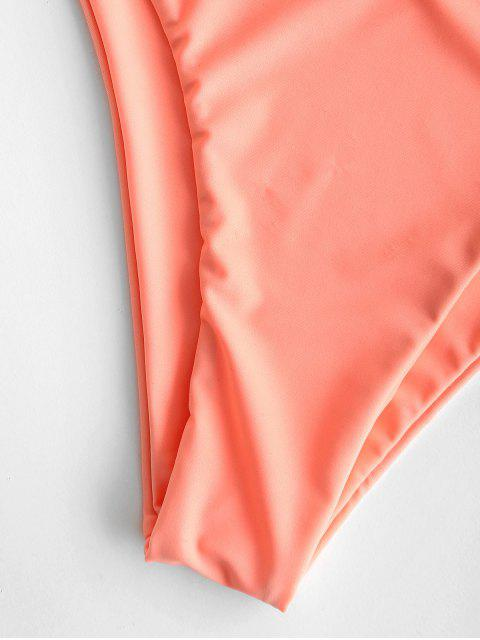 best Cross Strap Lace-up Bikini - LIGHT SALMON L Mobile