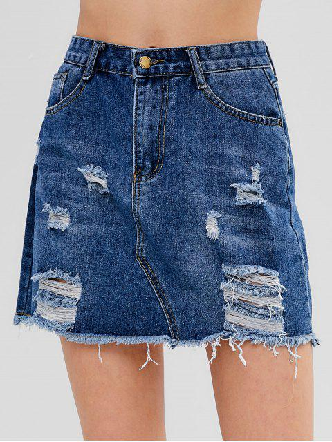 lady Ripped Denim Skirt - BLUE L Mobile