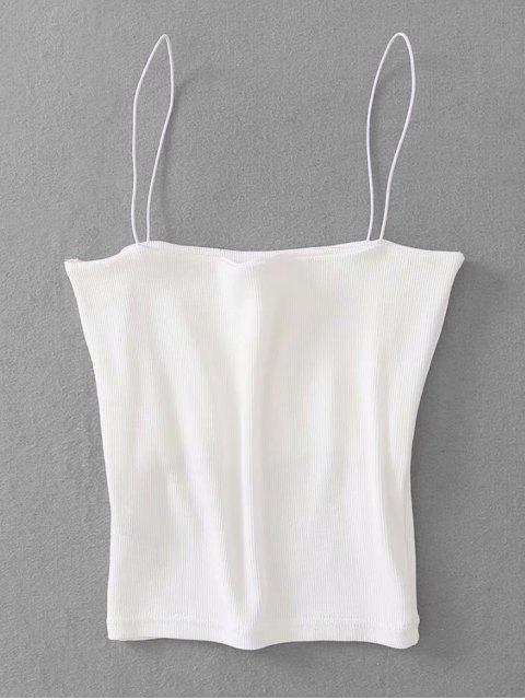 Top acanalado de cami - Blanco Talla única Mobile