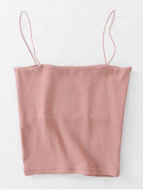 lady Ribbed Cropped Cami Top - LIGHT PINK ONE SIZE Mobile