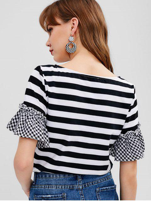 womens Striped Gingham Ruffle Sleeve Tee - MULTI M Mobile