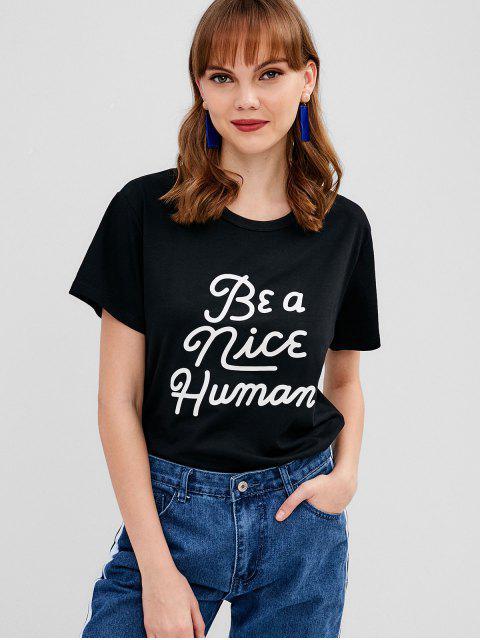 T-shirt Contrasté Graphique à Manches Courtes - Noir XL Mobile