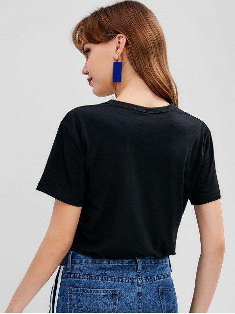sale Letter Graphic Front Jersey Tee - BLACK M Mobile