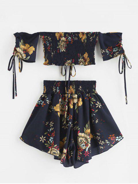 Conjunto floral cinchado con hombros descubiertos de Zaful - Azul de Medianoche S Mobile