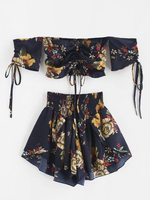 new Zaful Off Shoulder Cinched Floral Set - MIDNIGHT BLUE S Mobile