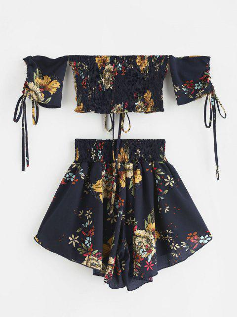 women Zaful Off Shoulder Cinched Floral Set - MIDNIGHT BLUE XL Mobile