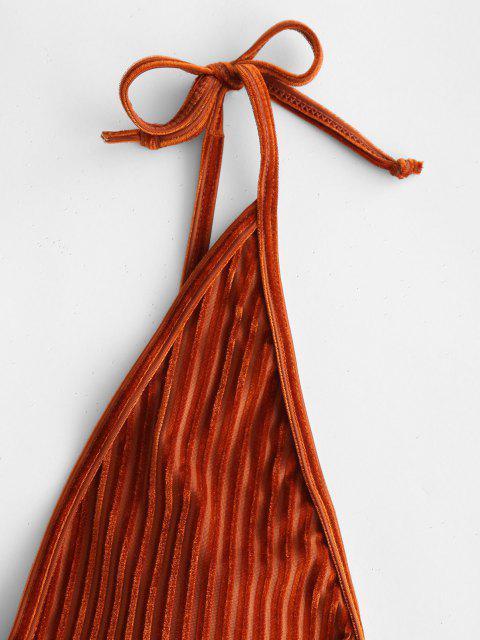 Costume Da Bagno In Velluto A Costine Senza Schienale Di ZAFUL - marrone chiaro M Mobile