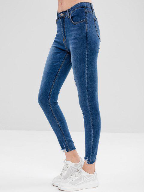 online Frayed Hem Skinny Distressed Jeans - BLUE L Mobile
