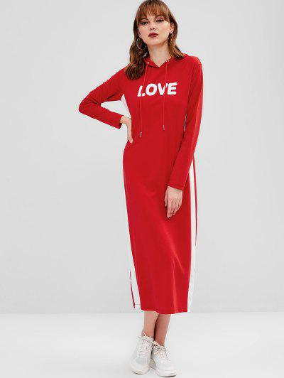 250eae77208 ... Love Graphic Hoodie Dress - Red S