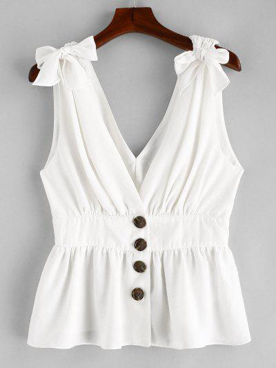 c3c158dc0b816 ZAFUL Knotted Button Up Tank Top - White L