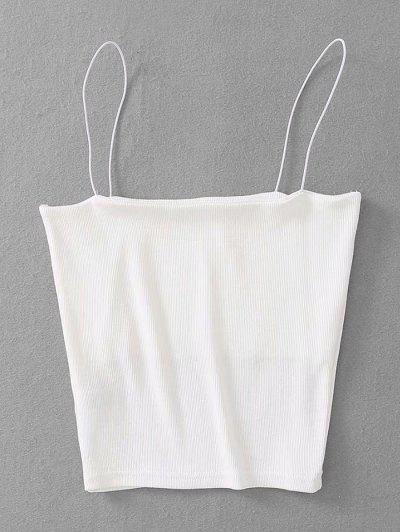 Ribbed Cropped Cami Top - White
