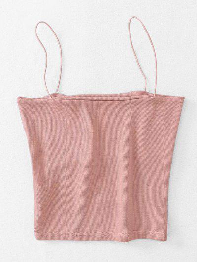 Ribbed Cropped Cami Top - Light Pink