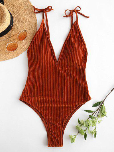 ZAFUL Velvet Ribbed Backless Swimsuit - Light Brown M