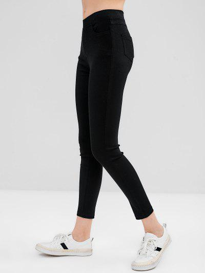 Pantalones Ajustados Delgados Bolsillos - Negro M