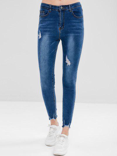 Frayed Hem Skinny Distressed Jeans - Blue M