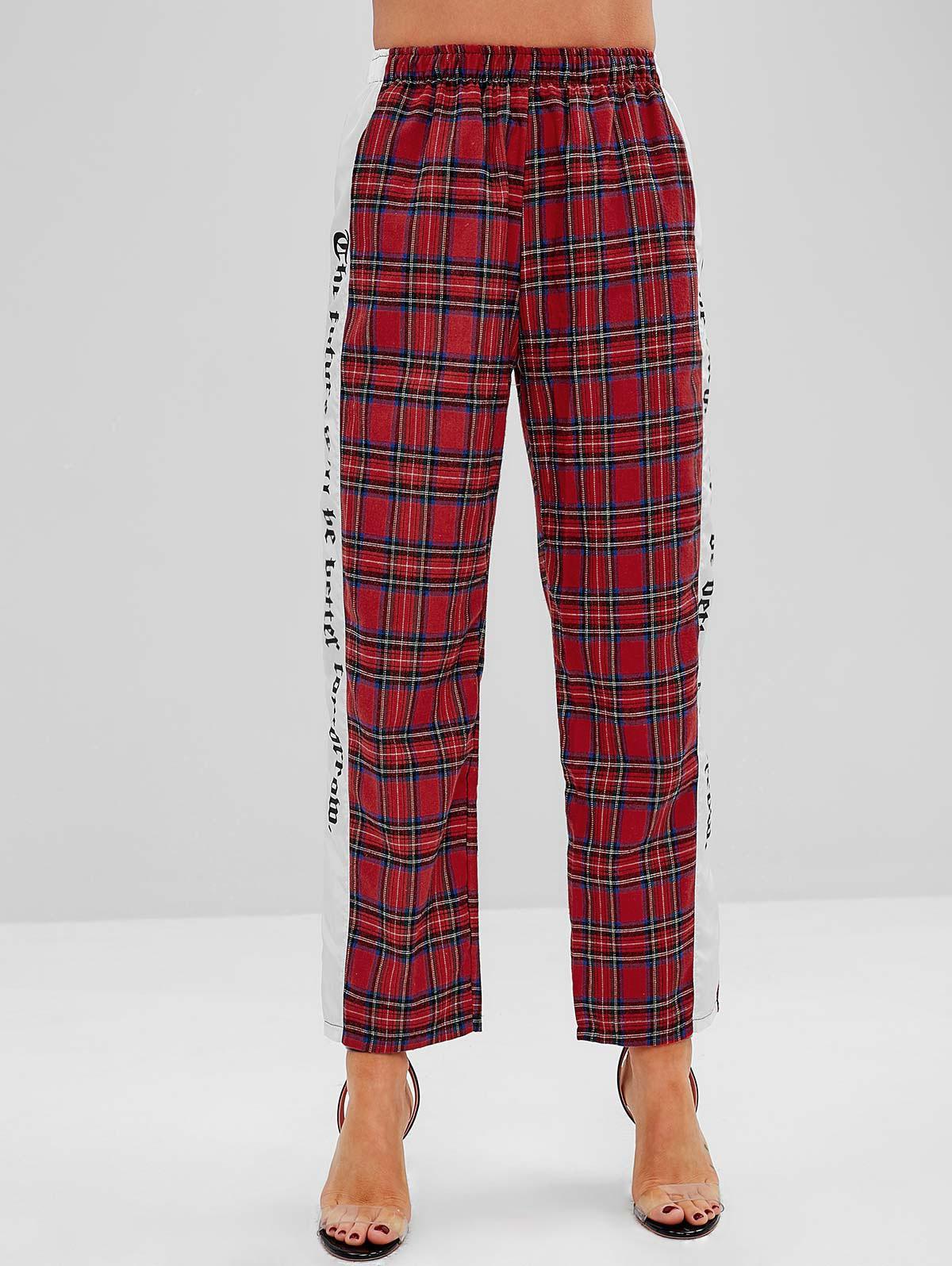 Straight Leg Paneled High Waisted Plaid Pants фото