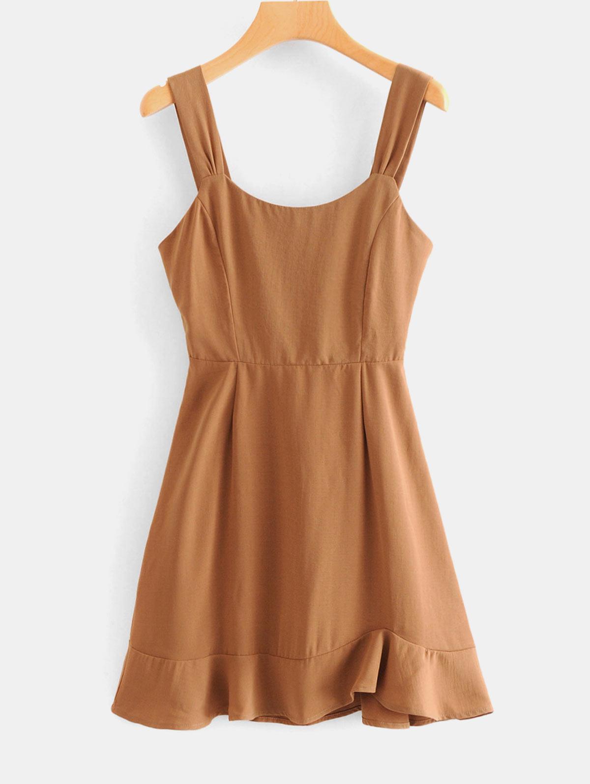 Wide Strap A Line Ruffled Mini Dress