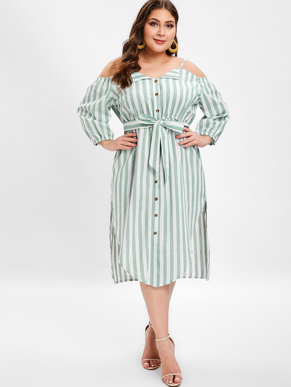 Plus Size Slits Striped Belted Cami Dress