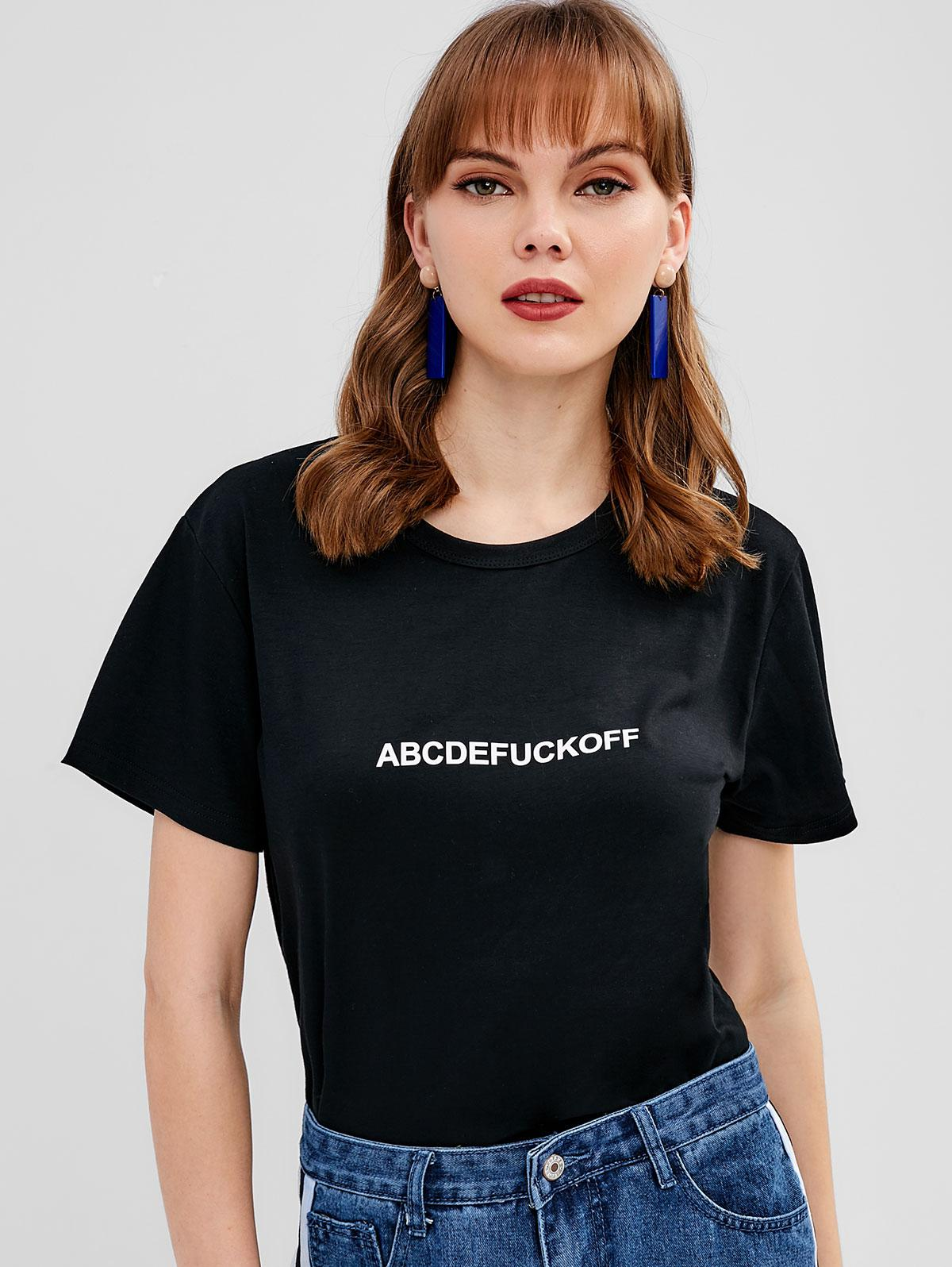 Letter Graphic Front Jersey Tee, Black