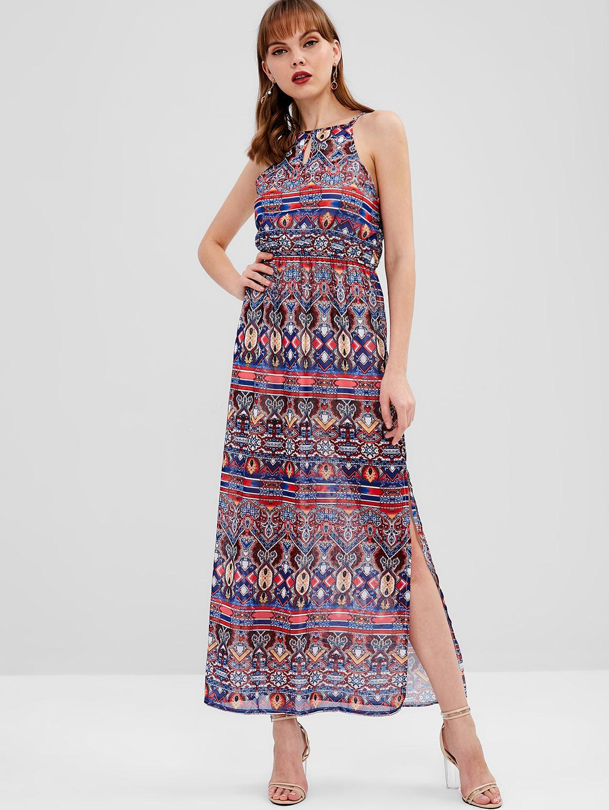 Keyhole Printed Maxi Dress фото