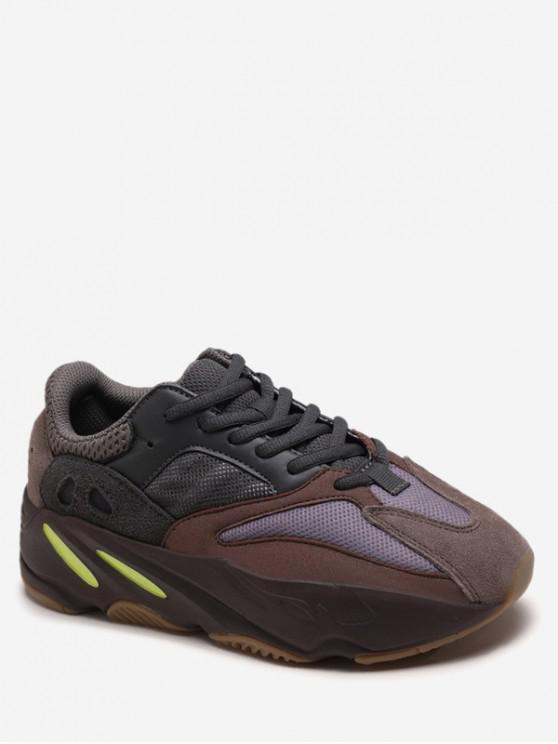 outfit Breathable Color Block Platform Sneakers - BROWN EU 40