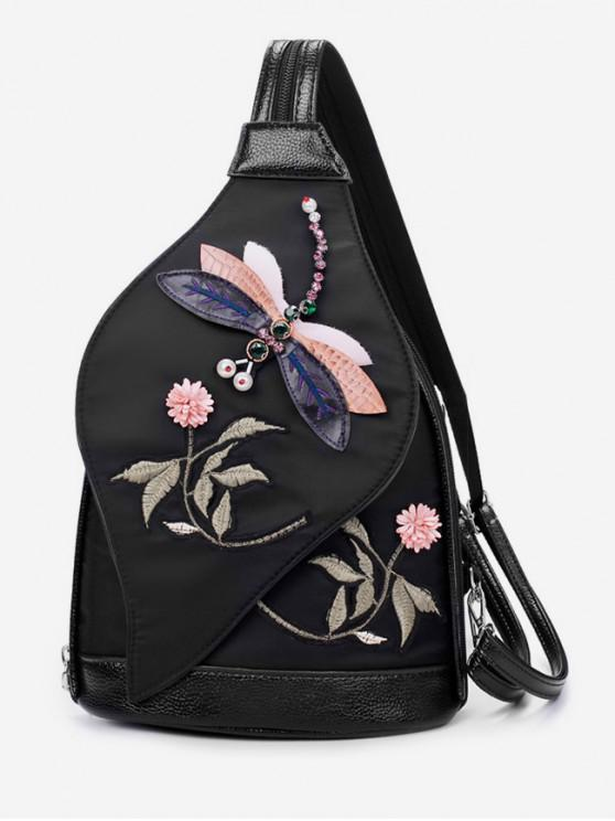 unique Floral Embroidered Nylon Backpack - BLACK