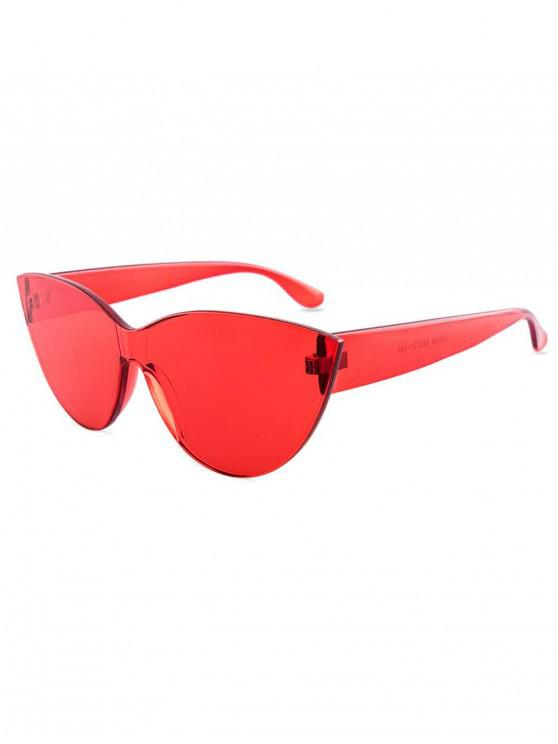unique Kitty Eye Jelly Color Frameless Beach Sunglasses - RED