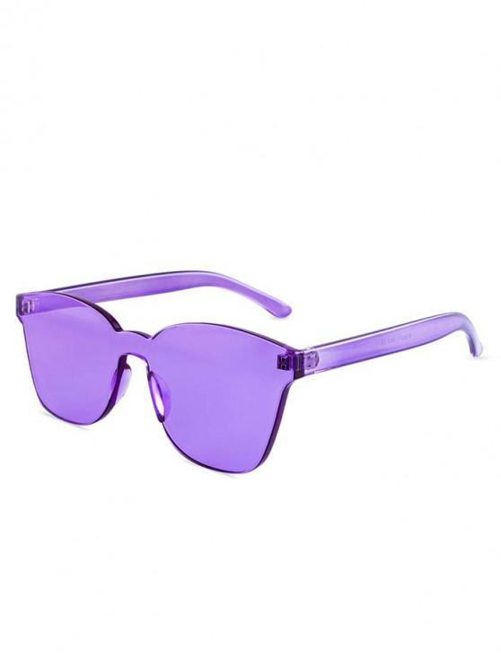 latest Candy Color Anti UV Square Rimless Sunglasses - PURPLE