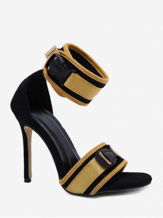 trendy Contrast Color Buckle High Heel Sandals - YELLOW EU 39