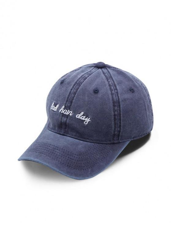 fashion Cotton Vintage Embroidered Letter Baseball Cap - CADETBLUE