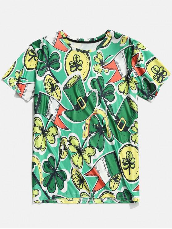 sale 3D Hats Clovers Print Short Sleeve T-shirt - CLOVER GREEN 2XL