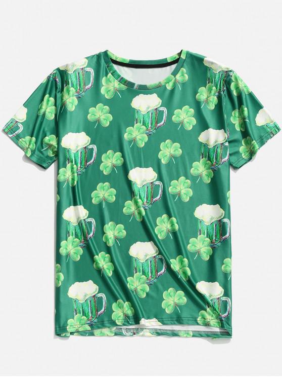 lady 3D Clover Beer Print Short Sleeve T-shirt - CLOVER GREEN L