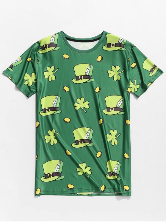 hot Hats Clovers Print Short Sleeve Slimming T-shirt - SHAMROCK GREEN XL