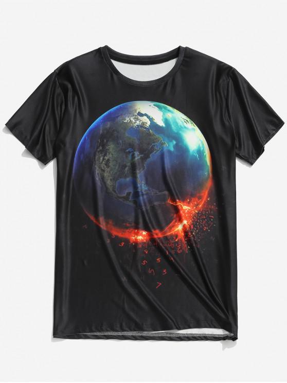 Kurzärmliges T-Shirt mit 3D-Print auf der Erde - Schwarz 2XL