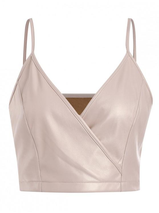 lady ZAFUL Surplice Faux Leather Cami Top - BLANCHED ALMOND S