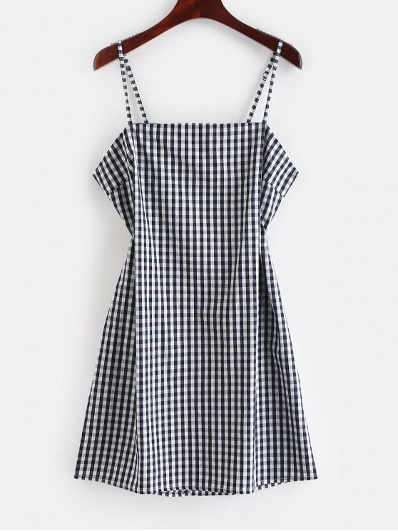 chic ZAFUL Tie Gingham Cut Out Mini Dress - DARK SLATE BLUE M