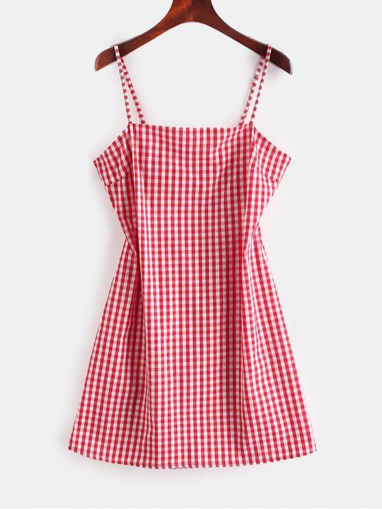 ZAFUL   Gingham - Minikleid mit Ausgeschnittenem Ausschnitt - Rot L