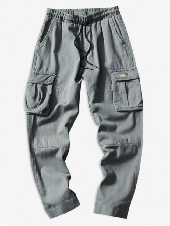 hot Casual Hem Velcro Cargo Pants - GRAY M
