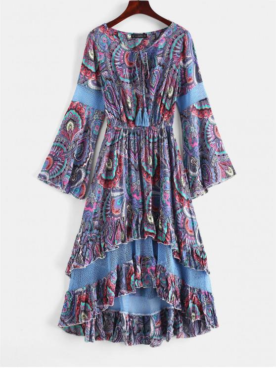 chic ZAFUL Flounce Flare Sleeve Crochet Panel Dress - SLATE BLUE M