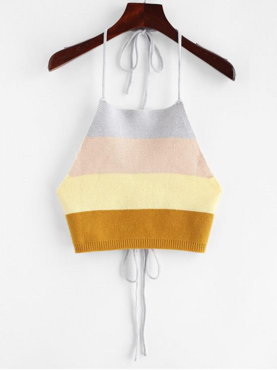 shops ZAFUL Tied Color Block Knitted Tank Top - MULTI M