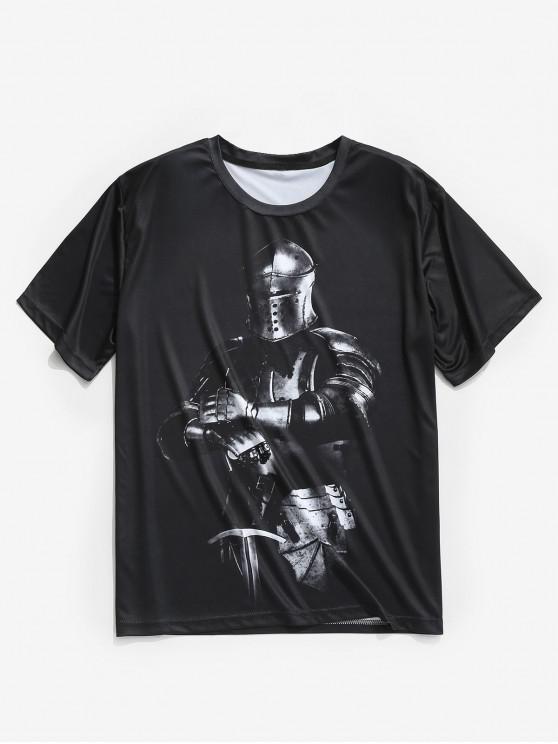Camiseta de manga corta con estampado de guerrero de armadura - Negro M
