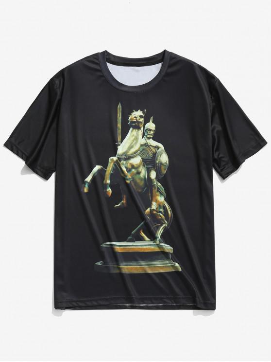 T-Shirt A Maniche Corte Con Stampa Soldato Combattendo - Nero S