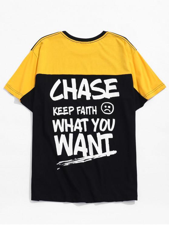 best Letter Face Graphic Printed T-shirt - BLACK L