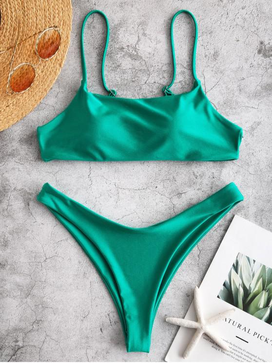latest ZAFUL Shiny Strappy Bralette Bikini Set - SEA TURTLE GREEN S