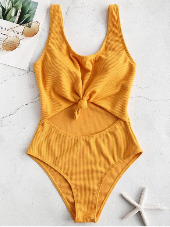 chic ZAFUL Ribbed Knotted Cut Out Swimsuit - GOLDEN BROWN M