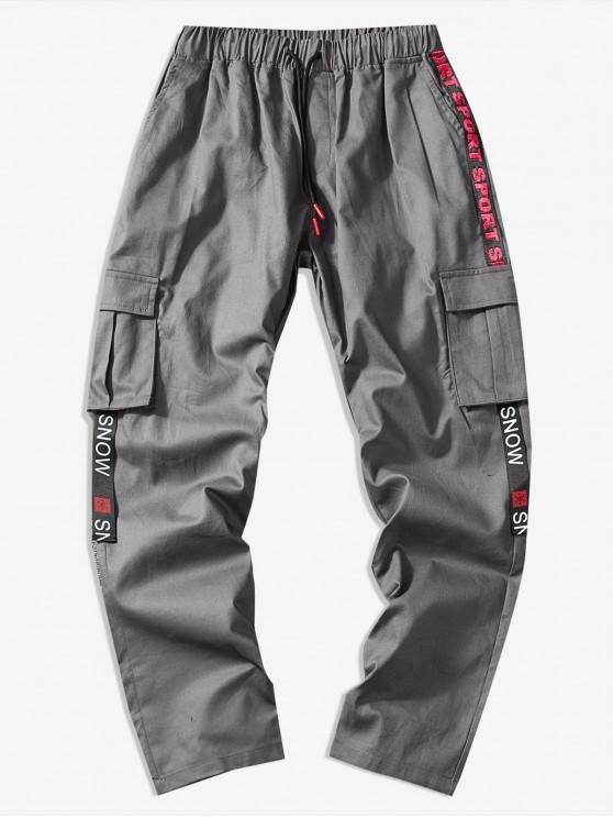 lady Casual Letter Graphic Ribbon Cargo Pants - GRAY S